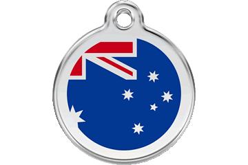 Red Dingo Enamel Tag Australian Flag Dark Blue 01-AU-DB (1AUNS / 1AUNM / 1AUNL)