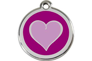 Red Dingo Enamel Tag Heart Purple 01-HP-PU (1HPPS / 1HPPM / 1HPPL)