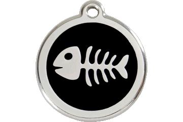 Red Dingo Enamel Tag Fish Bone Black 01-SK-BB (1SKBS / 1SKBM / 1SKBL)