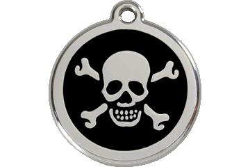 Red Dingo Enamel Tag Skull & Cross Bones Black 01-XB-BB (1XBBS / 1XBBM / 1XBBL)