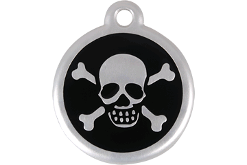 Red Dingo QR Tag Skull & Cross Bones Black 06-XB-BB (6XBBS / 6XBBL)