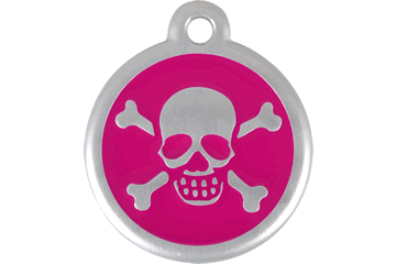 Red Dingo QR Tag Skull & Cross Bones Hot Pink 06-XB-HP (6XBHPS / 6XBHPL)