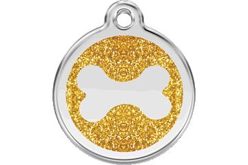 Red Dingo Glitter Enamel Tag Bone Gold 0X-BN-GO (XBNGOS / XBNGOM / XBNGOL)