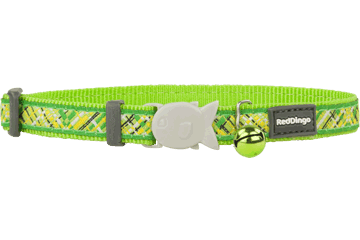 Red Dingo Cat Collar Flanno Lime Green CC-FN-LG