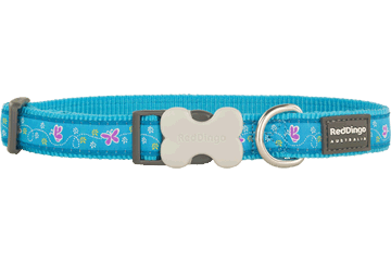 Red Dingo Dog Collar Butterfly Turquoise DC-BL-TQ
