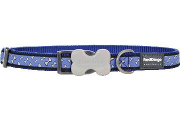 Red Dingo Dog Collar Flying Bones Dark Blue DC-FL-DB