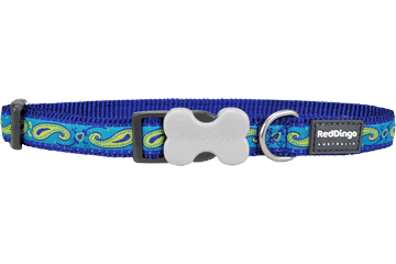 Red Dingo Dog Collar Paisley Dark Blue With Green DC-P2-DB