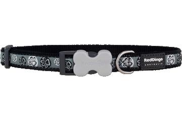 Red Dingo Dog Collar Paw Impressions Black DC-PI-BB