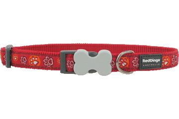 Red Dingo Dog Collar Paw Impressions Red DC-PI-RE