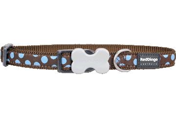 Red Dingo Dog Collar Blue Spots Brown DC-S2-BR