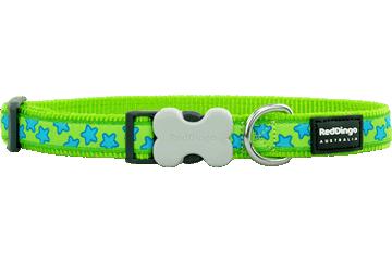 Red Dingo Dog Collar Stars Lime Green DC-ST-LG